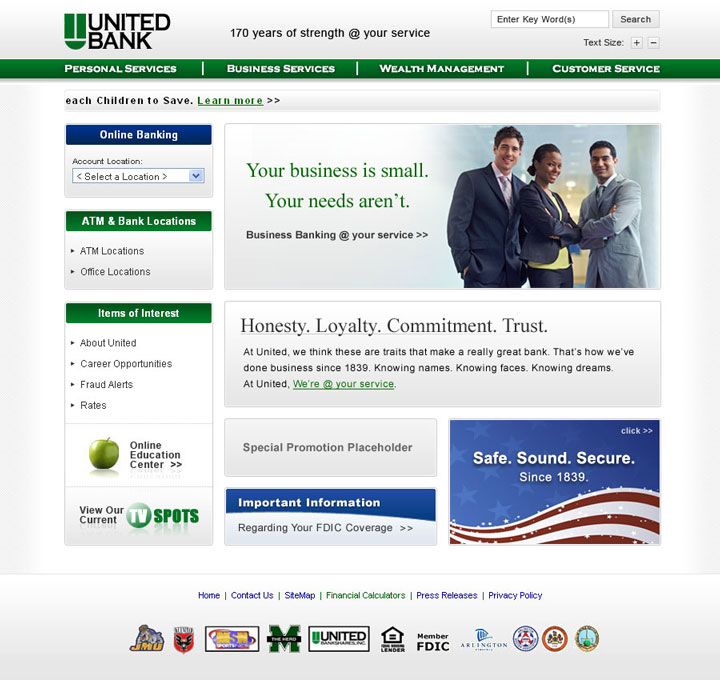 United Bank website screen